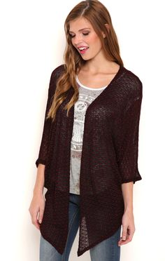 Deb Shops Textured Sweater Knit Cardigan with Elbow Length Sleeves $15.05