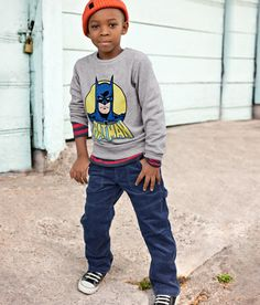 He'd love this batman shirt, and I love that it's still cool looking with the layerd shirt & cords.