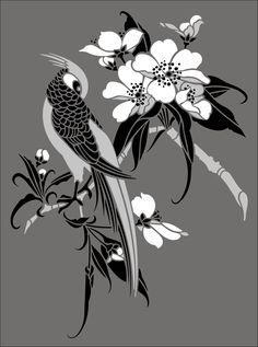Japanese Birds & Blossom No 5 stencils, stensils and stencles