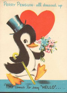 Vintage Age 9 original 1950\u2019s Birthday cards with Penguin design