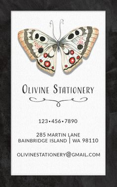 Business Card, Vintage Butterfly Card, Calling Card, Contact Card by OlivineStationery on Etsy