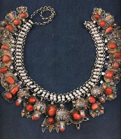 Algeria | Necklace; silver, enamel and coral | Kabyle Berber people