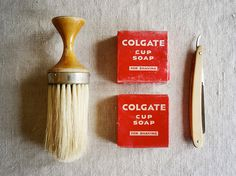 "vintage shaving set: neck duster brush, Henckels (Germany) folding blade and two Colgate cup soaps in their original packaging. Great ""gift for him"" this holiday season! Available at AtticAntics on Etsy, $28.00"