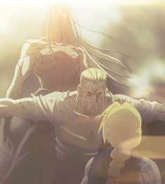 Hohenheim protecting his son, but the question is... which son is he really protecting? Is he protecting Edward from the Dwarf, or is he protecting the Dwarf from Edward?