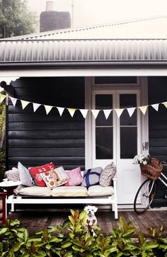 black exterior with white trim, wood flooring My dream cottage colours Interior Exterior, Exterior Colors, Exterior Paint, Black Exterior, Interior Design, Interior Decorating, Outdoor Spaces, Outdoor Living, Outdoor Decor