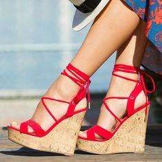 120f5a6a2880 Red Suede Cork Wedges Open Toe Crisscross Strappy Platform Sandals