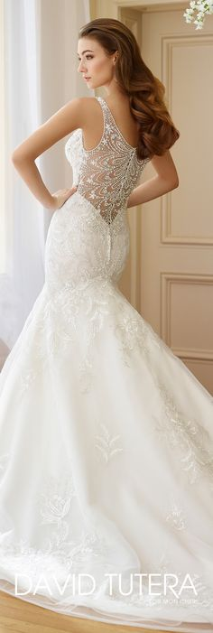 David Tutera for Mon Cheri Fall  2017 Collection - Style No. 217208 Bess - sleeveless embroidered lace trumpet wedding dress with beaded illusion back