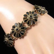 Victorian Gold and French Jet Bracelet with Floral Links
