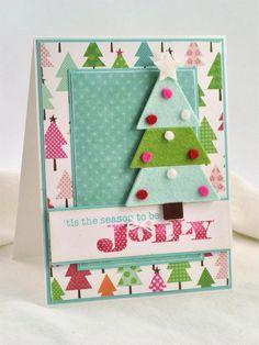 Weihnachtskarte mit Weihnachtsbaum aus Filz selber machen
