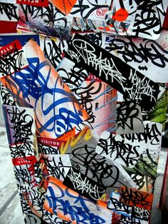 Baser graffiti sticker collage in NYC Speaking with Baser