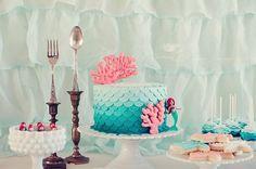 Ariel-inspired mermaid birthday party- dingle hopper candlesticks