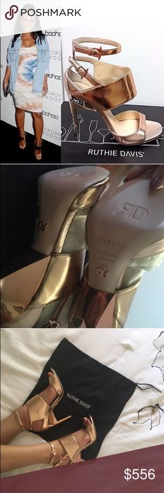 "💥SALE🆕Ruthie Davis Rose Gold Heels *NIB* Ruthie Davis ""Pretty"" heels as seen on a few celebrities! They are a rose gold & gold combo. Comes with dust bag. Tiny blemish on both shoes on upper part of leather (see last photo).   o    Multi Strap, Single Sole Sandal   o    4""(100mm) signature RD architectural lacquered heel  o    Metallic kidskin leather  o    Signature RD rosegold studded buckles  o    Made In Italy  ✨100% Authentic✨ 📦Shipment Days: Monday, Wednesday & Friday •Don't forgot…"