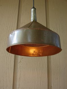 Upcycled Vintage Farm Funnel Pendant Light by BenclifDesigns, $98.00