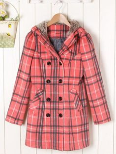 Fashionable Plaid Double-Breasted Long Sleeves Hooded Worsted Coat For Women
