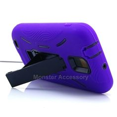 Click Image to Browse: $9.95 Purple Kickstand Double Layer Hard Case Gel Cover For Samsung Galaxy S2 (Hercules T989) T-Mobile