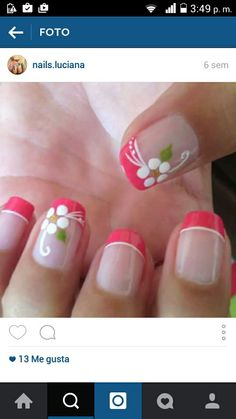 Pink Nail Art, Flower Nail Art, Toe Nail Art, Toe Nails, French Manicure Nails, French Tip Nails, Manicure And Pedicure, French Nail Art, French Nail Designs