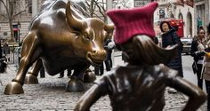 Young Girl Stares Down Wall Street Bull In New, Surprise Statue - http://all-that-is-interesting.com/girl-bull-statues-wall-street?utm_source=Pinterest&utm_medium=social&utm_campaign=twitter_snap