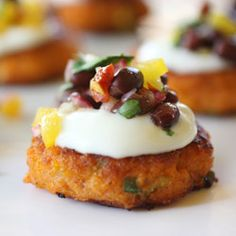 Sweet Potato Cakes with Sour Cream and Chipotle Black Bean Salsa --- These are really tasty and easy. I actually baked them instead and frying @ 425 for about 30 minutes to make them a little more figure-friendly and they turned out great.