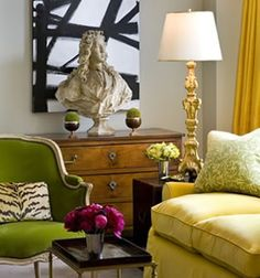 Green chair, Black  White abstract with yellow sofa and drapes. Great living room