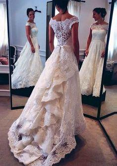 2016 Vintage Wedding Dress, Lace Wedding Dresses, White Wedding Dresses, Audrey Hepburn Style Wedding Dress, Off the Shoulder Layers Skirt A-line Bridal Gowns #laceweddingdresses
