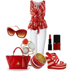 """""""spring red"""" by kswirsding on Polyvore"""