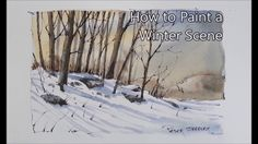 How to paint Winter shadows and trees. Line and wash. Just 4 colors. Pet...