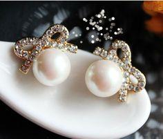 Vintage Pearl Bow Earring&stud