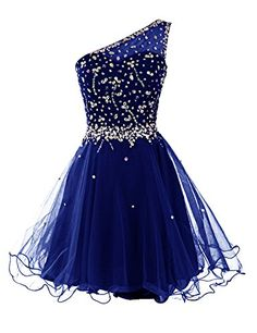 Dresstells Short One Shoulder Prom Dresses Tulle Homecoming Dress with Beads Royal blue Size 2 One Shoulder Prom Dress, One Sleeve Dress, One Shoulder Cocktail Dress, Cocktail Dress Prom, Cocktail Gowns, Long Sleeve, Blue Homecoming Dresses, Prom Dresses With Sleeves, Tulle Prom Dress
