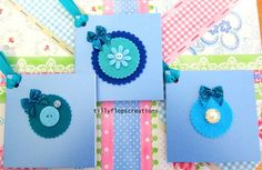 "Set of 3 Pearlescent Blue and Felt Floral Cards 7.5"" x 3.9"" £1.50"