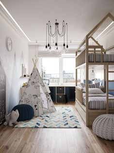 Looking for some kind of order for your kid's room inspiration? We all know it's a bit hard to tame a kids bedroom. Bedroom Green, Bedroom Colors, Trendy Bedroom, Girls Bedroom, Bedroom Ideas, Toddler Playroom, Playroom Ideas, Kids Room Design, House Beds