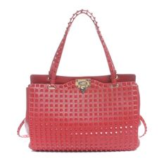Shop authentic pre-owned Valentino handbags at up to discount off retail. Fashionphile has the largest selection of used Valentino Garavani on sale online. Valentino Handbags, Valentino Garavani, Handbag Accessories, Diamond Shapes, Designer Shoes, Studs, Surface, Smooth, Red