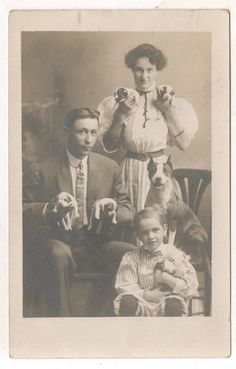 RPPC Family with 6 Dogs! 5 Cute Puppies & Doberman? Vintage Real Photo Postcard