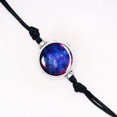Deep Blue Nebula Bracelet, Handmade Glass Dome Bracelet, Galaxy Cord Bracelet, Nebula Outer Space Bracelet, Silver Bronze Gold BCZA01R09K07