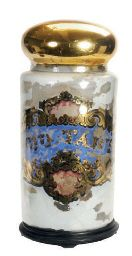 A REVERSE PAINTED GLASS JAR AND COVER,  POSSIBLY ENGLISH, LATE 19TH EARLY 20TH CENTURY,http://www.christies.com/