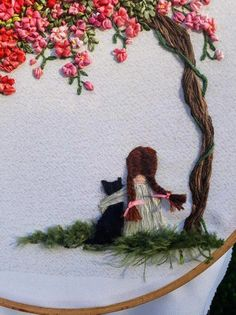 Picture girl with black cat cherry blossoms hand embroidery wall art painting ribbon embroidery embroidered painting decor for girl gift Hand Work Embroidery, Embroidery Flowers Pattern, Creative Embroidery, Hand Embroidery Stitches, Embroidery Hoop Art, Hand Embroidery Designs, Ribbon Embroidery, Cross Stitch Embroidery, Embroidery Needles