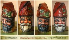 Brîndușa Art 2 cans - recycled, painted (acrylics), turned into a gnome music box (painted in 2 variants). You turn the crank & hear 'Somewhere, over the rainbow…' 2 conserve reciclate, pictate (acrilice), transformate într-o cutie muzicală - gnom (pictată-n 2 variante). Învârtind manivela, se aude muzica – 'Somewhere, over the rainbow…' #repurposing #recycling #cans #painting #conserva #reciclare #handmade #beforeandafter #music_box #gnome #gnom #paintedbox #acrylics #acrilice #cutiepictata Tin Cans, Painted Boxes, Over The Rainbow, Fun Projects, Gnomes, Conservation, Repurposed, Recycling, Canning
