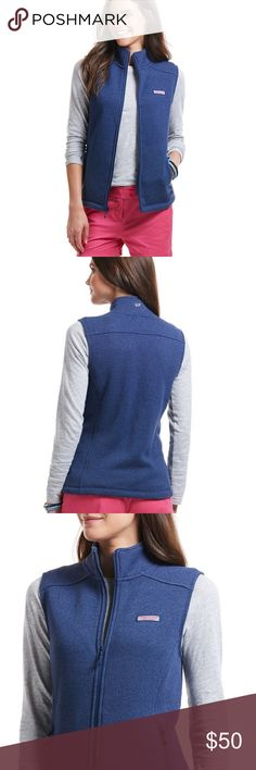 Vineyard Vines Sweater Fleece Vest Cute and on trend patagonia like material with Soft fleece in a flattering silhouette makes our women's fleece vest a cozy choice for layering up for any season - the perfect vest! Deep Bay color - like new condition! This is sold out online and only in production for one season!  Features: · Fleece interior for softness  · Accented interior taping at zipper and back neck  · Center front zipper with navy pull  · Signature logo at chest and Whale on collar…