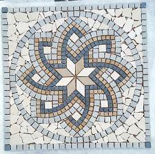 Marmor Rosone TRENTO 60x60 cm Mosaik Naturstein Fliesen Motiv Bild grau beige