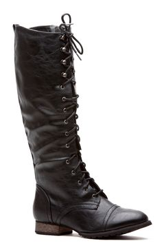 Miss Military Black Lace Up Combat Boots @ Cicihot Boots Catalog:women's winter boots,leather thigh high boots,black platform knee high boots,over the knee boots,Go Go boots,cowgirl boots,gladiator boots,womens dress boots,skirt boots.