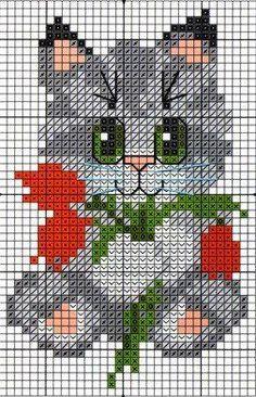 Cross Stitch - Cat scheme for embroidery pattern Cat Cross Stitches, Cross Stitch Baby, Cross Stitch Animals, Cross Stitch Charts, Cross Stitch Designs, Cross Stitching, Cross Stitch Embroidery, Hand Embroidery, Cross Stitch Patterns