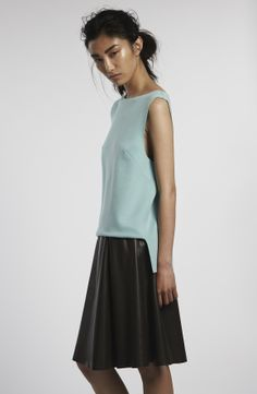 Peridot London PRE Spring Summer 2014 Columbia blue wool top with Lincoln grey leather skirt.