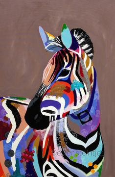 Colorful zebra by Ester Steintjes Zebra Painting, Zebra Art, Zebra Drawing, Animal Paintings, Animal Drawings, Art Drawings, Drawing Art, African Animals, African Art