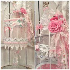 Shabby chic birdcage altered roses & ribbon by lilhoneysshoppe
