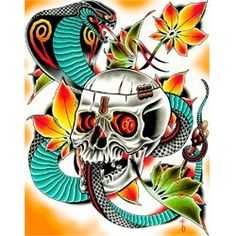 Key Master By Tyler Bredeweg Snake And Skull Tattoo Canvas Art Print