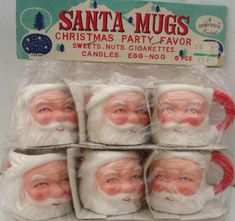 Vintage Santa Mugs--Look at the use suggestions on the package header----hey kids-use them to hold your cigarettes!