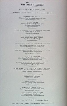 The French Laundry The Menu