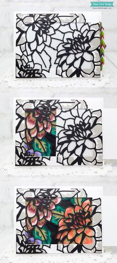 Interactive, magic slider card using Altenew Layered Floral Cover Die A and B. www.altenew.com