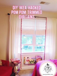 DIY IKEA Hacked Pom Pom trim Curtains via Honey & Fitz