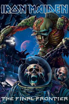 The Final Frontier is the fifteenth studio album by British heavy metal band Iron Maiden, released on 13 August 2010 in Germany, Austria and. Heavy Metal Bands, Arte Heavy Metal, Metal Art, Iron Maiden Album Covers, Iron Maiden Albums, Iron Maiden Band, Hard Rock, Woodstock, Camisa Rock
