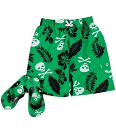 Jump N Splash Boys' Skull/Palm Swim Trunk w/ FREE Flipflops (4-14) #swimoutlet Swimsuits 2014, Swimwear, Swim Shop, Flip Flops, Palm, Trunks, Skull, Swimming, Boys